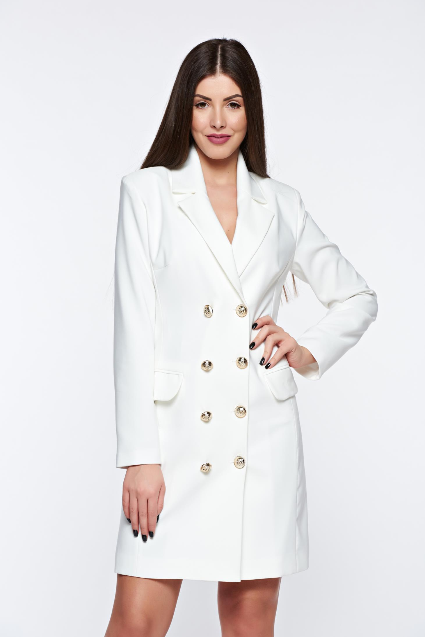 LaDonna white dress blazer type with inside lining office with v-neckline
