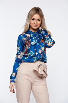 PrettyGirl blue women`s shirt from satin fabric texture office flared tied with bow
