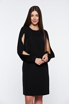 PrettyGirl black dress elegant with cut-out sleeves with inside lining flared