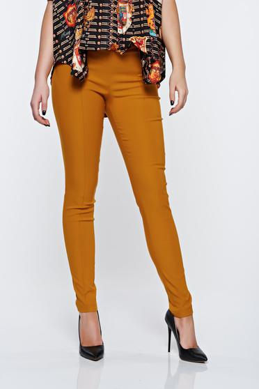 PrettyGirl mustard trousers high waisted office with pockets conical