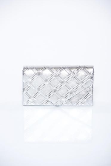 Silver bag elegant clutch long chain handle