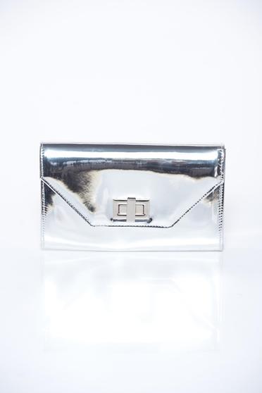 Silver bag elegant clutch from shiny fabric