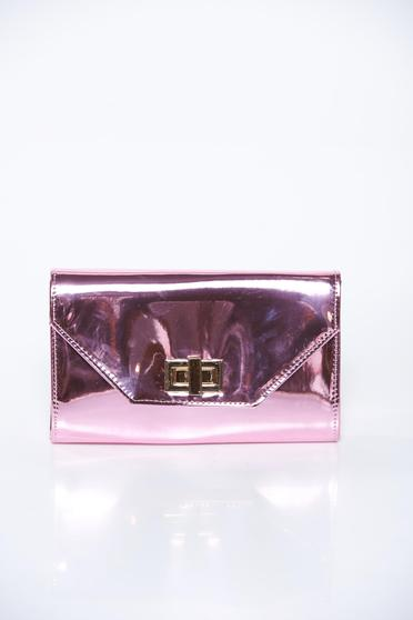 Pink bag elegant clutch from shiny fabric