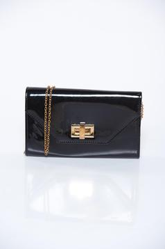 Black bag elegant clutch from shiny fabric