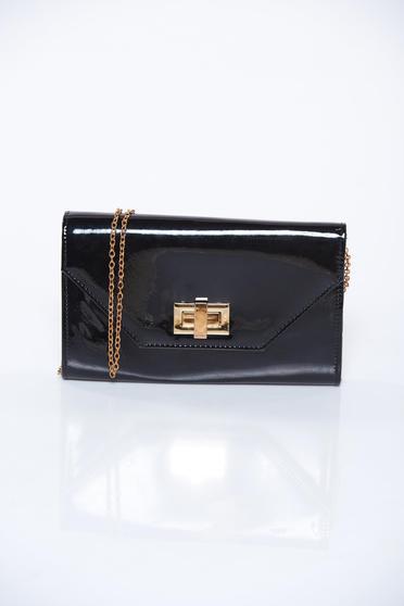 Black bag elegant clutch from shiny fabric