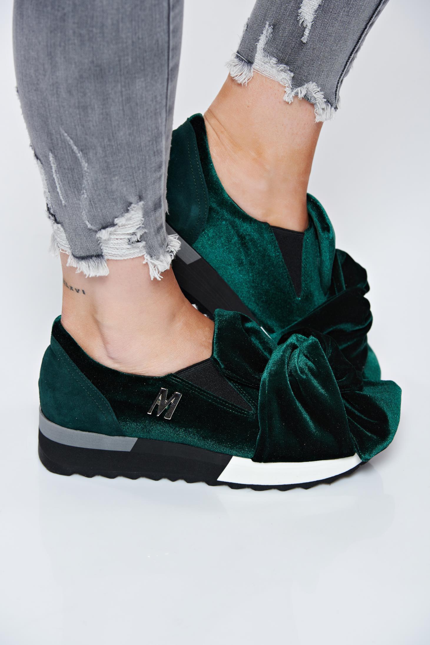 Pantofi sport verde MissQ casual cu talpa usoara din catifea si interior de piele