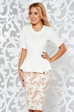 StarShinerS white dress office with frilled waist from elastic fabric pencil