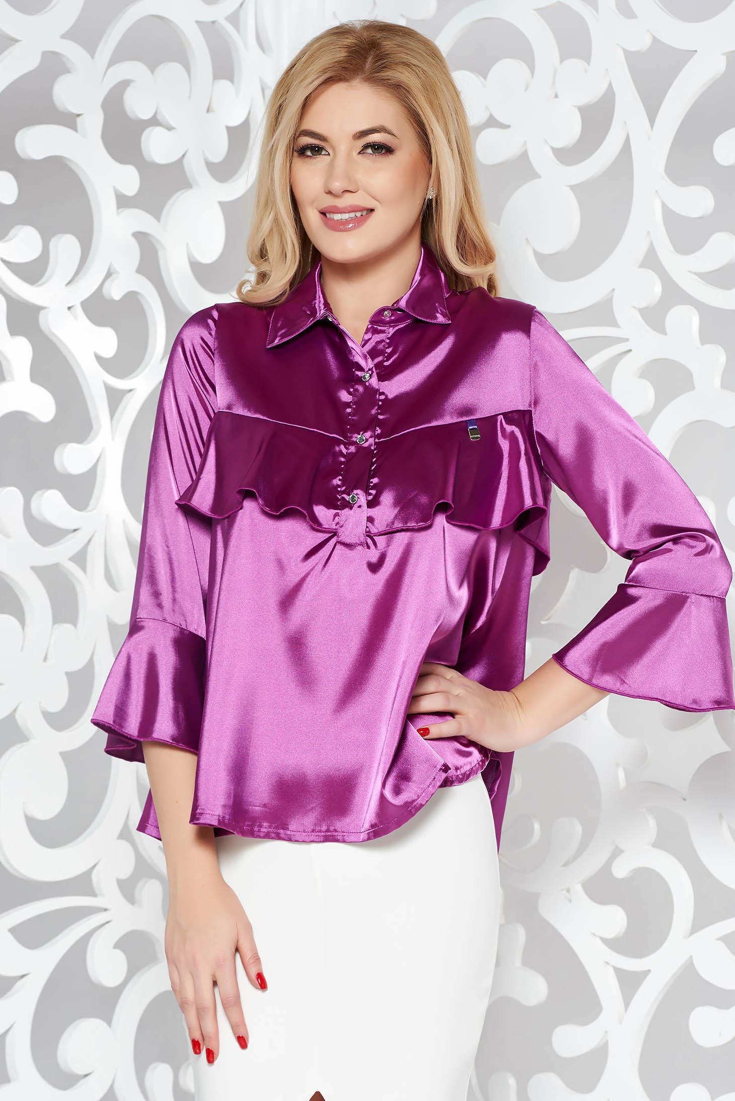 Bluza dama MissQ mov eleganta cu croi larg din material satinat cu volanase