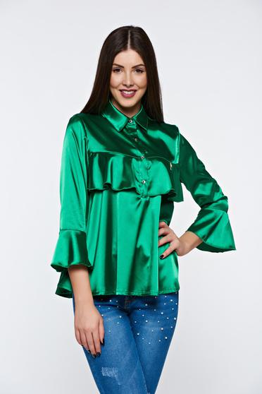 MissQ darkgreen women`s blouse elegant from satin fabric texture with easy cut with ruffles on the chest