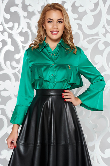 MissQ green women`s blouse elegant from satin fabric texture with easy cut with ruffles on the chest