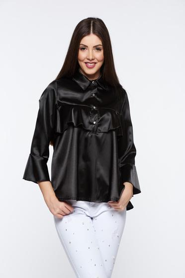 MissQ black women`s blouse elegant from satin fabric texture with easy cut with ruffles on the chest