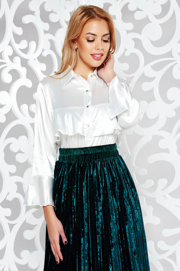 MissQ white women`s blouse elegant from satin fabric texture with easy cut with ruffles on the chest