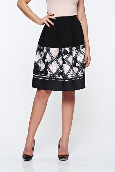 StarShinerS black skirt office cloche high waisted with print details