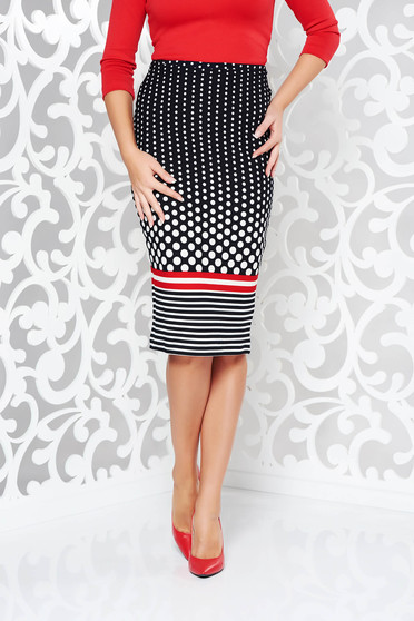 StarShinerS black skirt office pencil with medium waist from elastic fabric