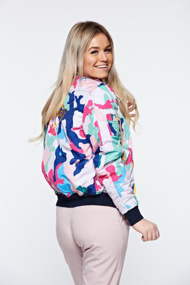 MissQ white jacket casual embroidered with zipper details pockets