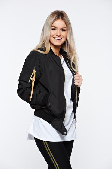 MissQ black jacket casual embroidered with zipper details pockets