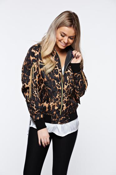 MissQ brown jacket casual embroidered with zipper details pockets