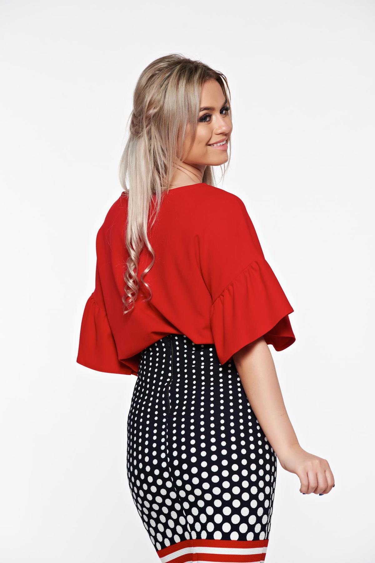 Bluza dama StarShinerS rosie office cu croi larg din material usor elastic cu maneci incretite