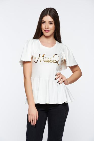 MissQ white casual women`s blouse from elastic and fine fabric with print details with ruffle details