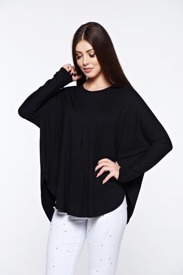 MissQ black women`s blouse casual with easy cut from elastic and fine fabric