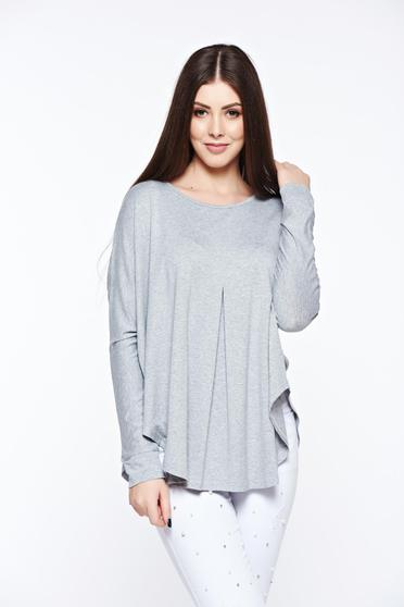 MissQ grey women`s blouse casual with easy cut from elastic and fine fabric
