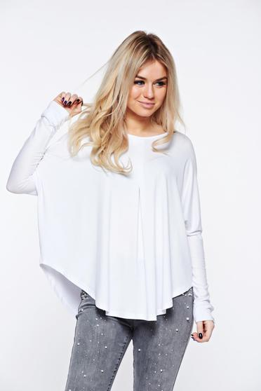 MissQ white women`s blouse casual with easy cut from elastic and fine fabric