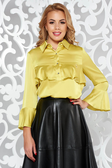 MissQ mustard women`s blouse elegant from satin fabric texture with easy cut with ruffles on the chest