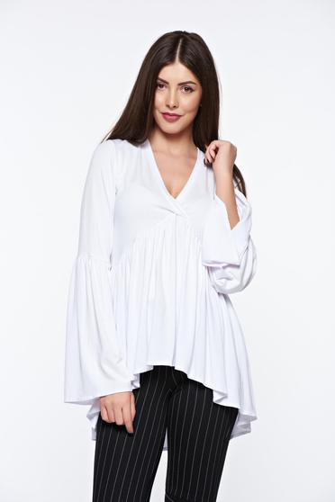 MissQ white women`s blouse casual asymmetrical with v-neckline with ruffle details