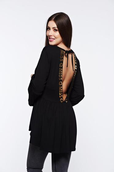 MissQ black women`s blouse casual asymmetrical with v-neckline with ruffle details