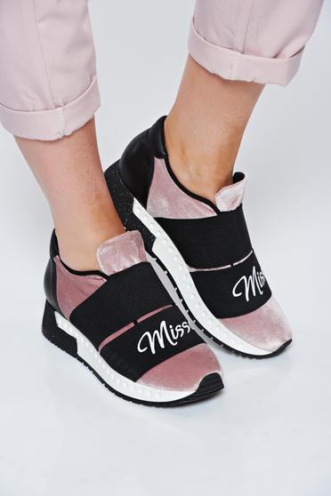 MissQ rosa sneakers casual light sole velvet