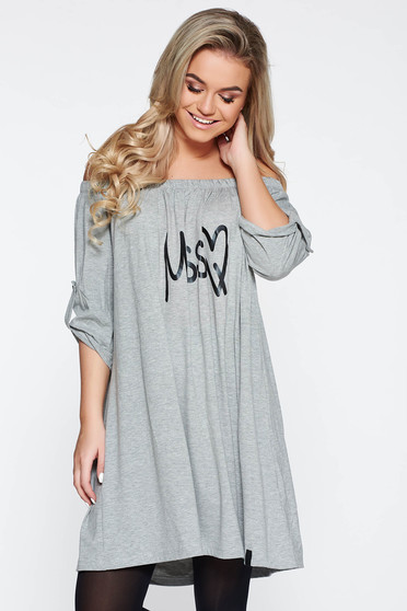 MissQ grey casual dress flared from elastic fabric with print details