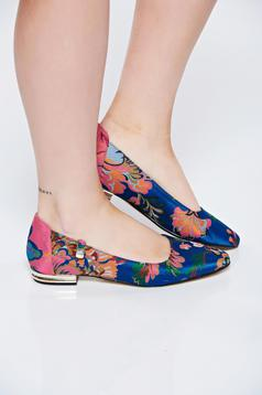 MissQ blue flat shoes casual from satin fabric texture low heel