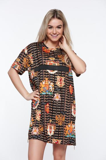 MissQ black casual flared dress from elastic fabric with print details