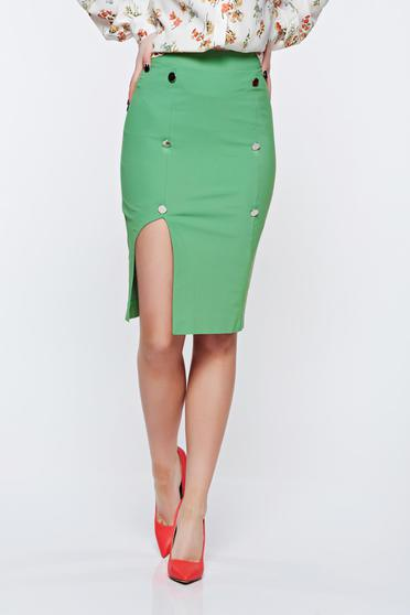 PrettyGirl green skirt office with inside lining pencil high waisted