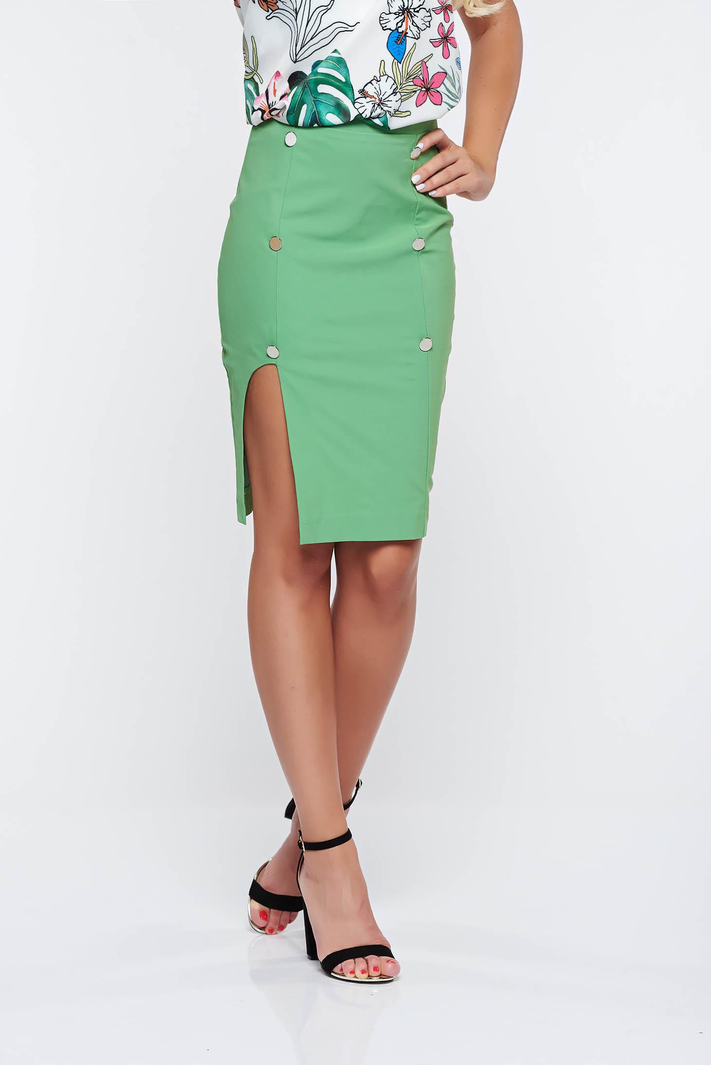 f976013775 Zöld PrettyGirl irodai ceruza szoknya belső béléssel magas derekú