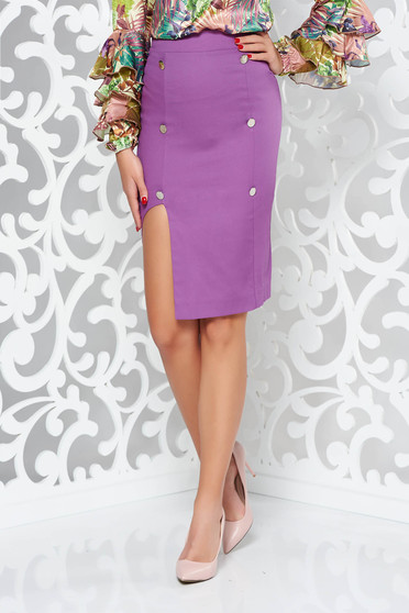 PrettyGirl purple skirt office with inside lining pencil high waisted