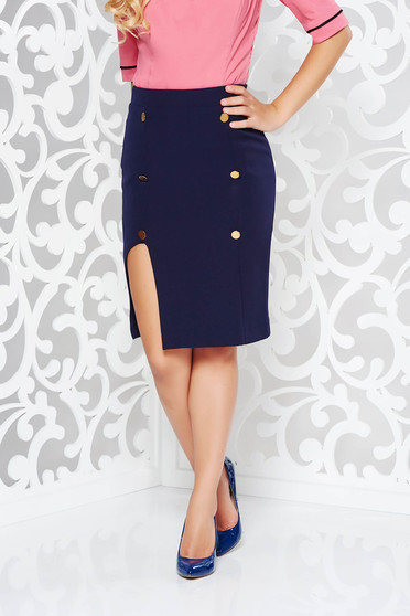 PrettyGirl darkblue skirt office with inside lining pencil high waisted