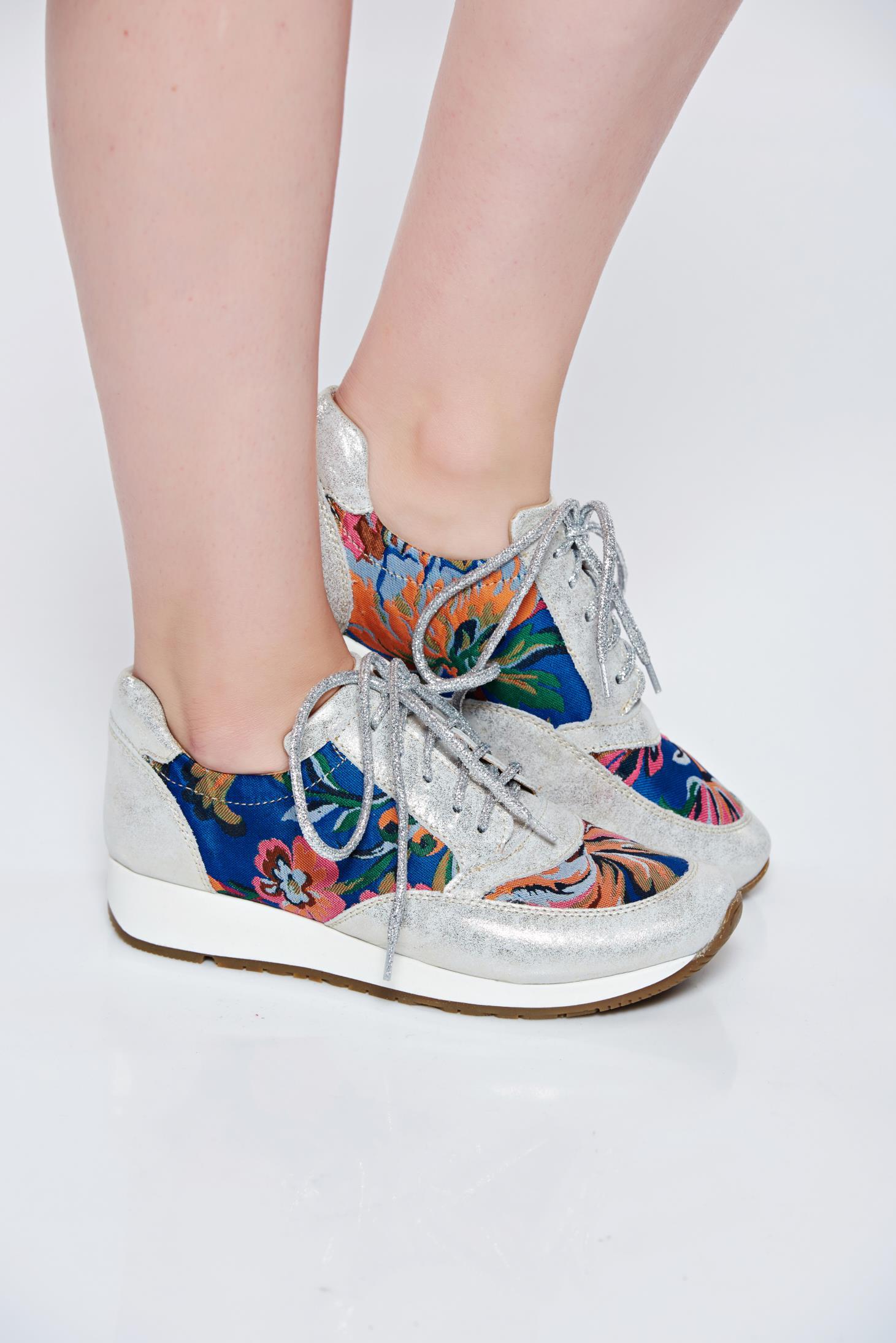 Pantofi sport MissQ argintiu casual din piele naturala cu talpa usoara cu siret