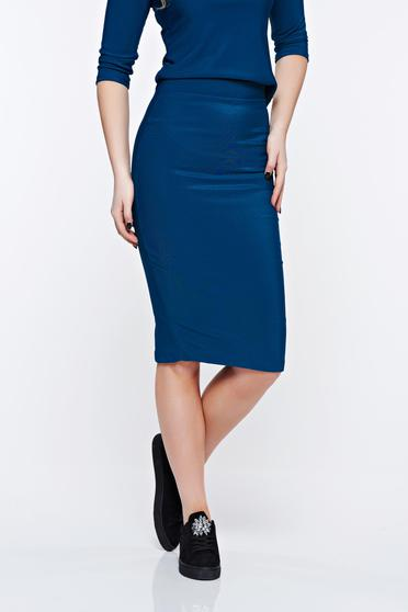 PrettyGirl turquoise office midi pencil skirt from striped fabric
