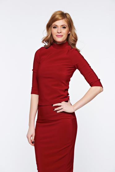 PrettyGirl burgundy casual turtleneck women`s blouse with tented cut short