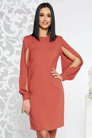 PrettyGirl brown dress elegant with cut-out sleeves with inside lining flared