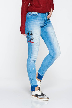 MissQ blue jeans casual elastic cotton with medium waist skinny jeans