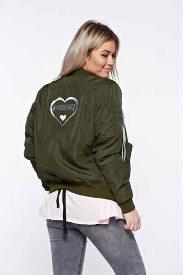 MissQ darkgreen jacket casual embroidered with zipper details pockets