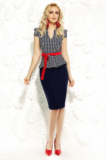 Fofy darkblue skirt office from elastic fabric pencil high waisted