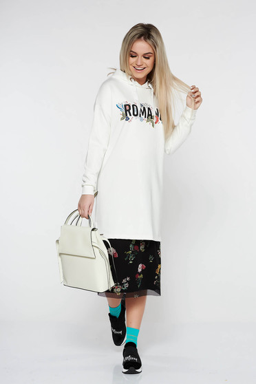 Top Secret white casual flared women`s blouse with undetachable hood with crystal embellished details