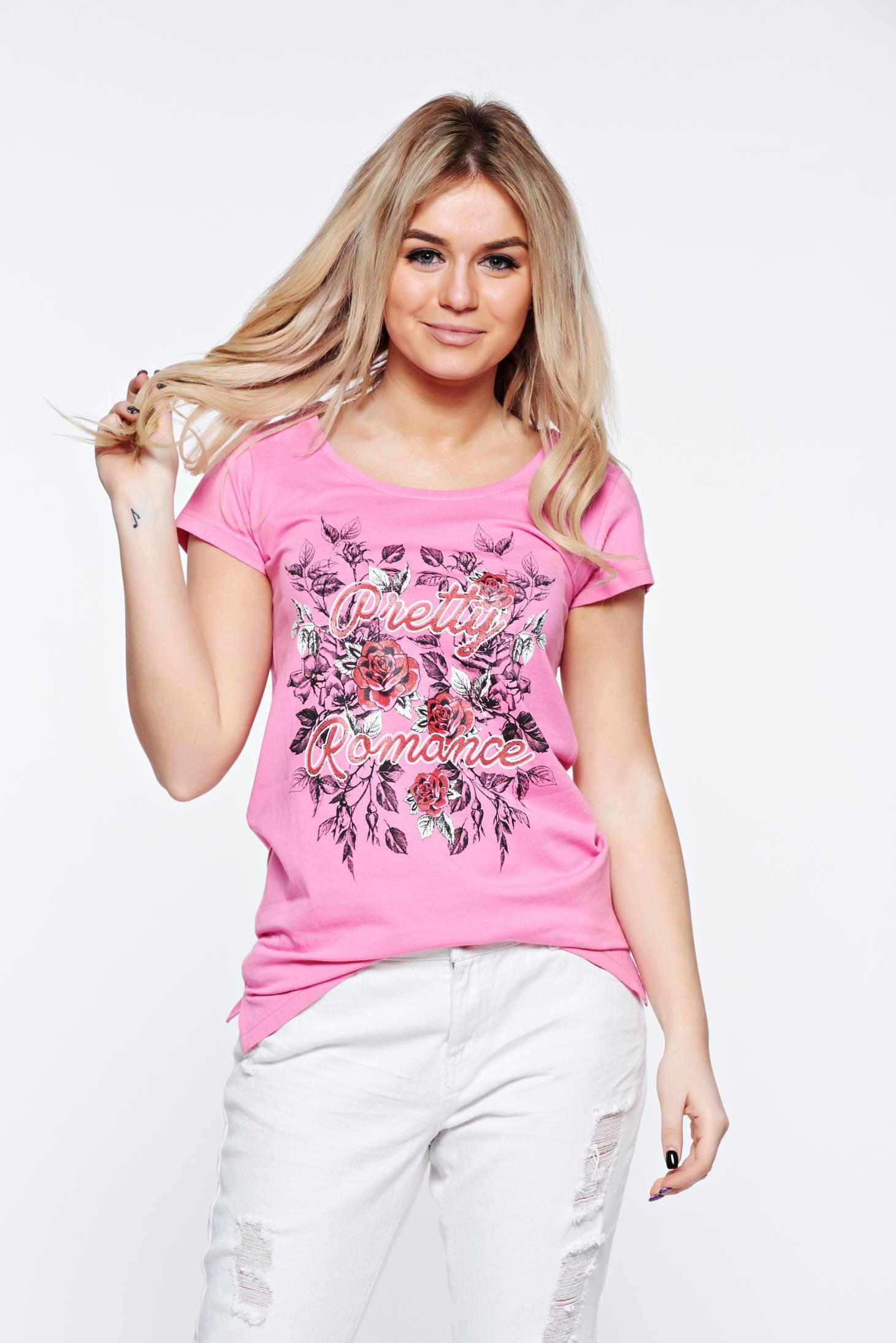 9ee03636ca Pink Top Secret casual pamutból készült bő szabás póló nyomtatott mintával