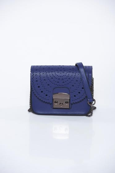Top Secret darkblue bag casual from ecological leather pierced fabric long chain handle