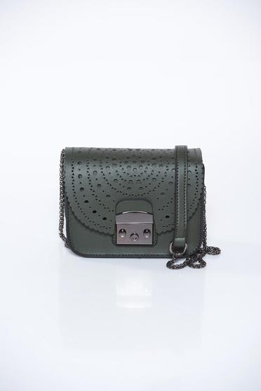 Top Secret khaki bag casual from ecological leather long chain handle pierced fabric