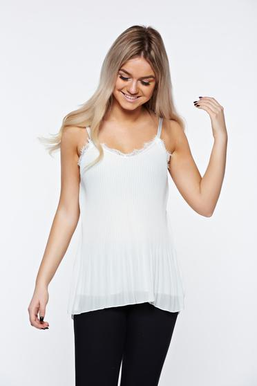 White top shirt voile fabric folded up elegant with lace details
