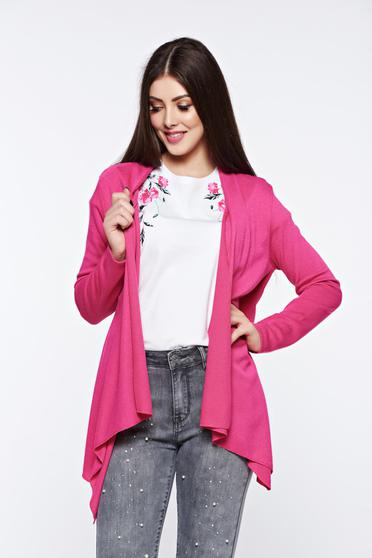 Pink cardigan asymmetrical with easy cut long sleeved